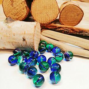 10 Glasperlen Kugelform 10 mm transparent mit Farbverlauf blau grün