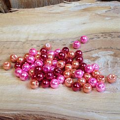 Perlenset 50 Glaswachsperlen Kinderperlen rot rosa orange 6 mm