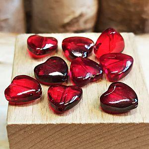 10 Glasperlen Herzform 10 mm rot