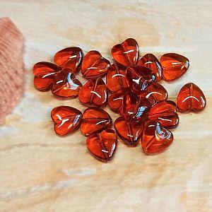 10 Glasperlen Herzform 10 mm braun
