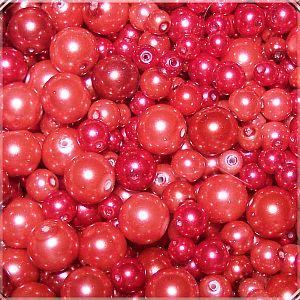 PerlenSet 100 Glaswachsperlen Kinderperlen rottönig 6 - 10 mm