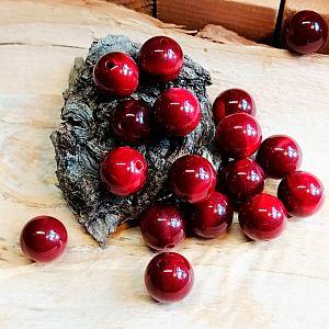 10 schöne Kugelperlen weinrot marmoriert 14 mm