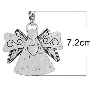 1 großer Kettenanhänger Engel Metall silber antik 72 mm