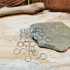 50 Metall Binderinge Spaltringe silber hell 6 mm