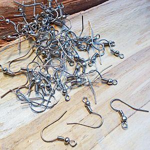 100 Ohrhaken silber antik 18 mm