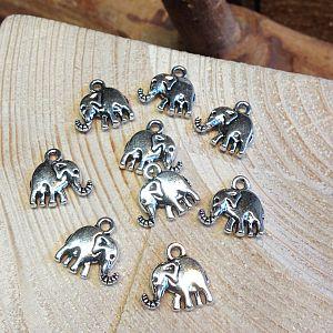 2 Metall Anhänger 14 mm Elefant silber antik