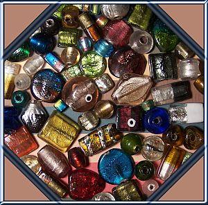 Perlenset 10 große bunte ind. Glasperlen Silbereinzug 20 - 35 mm