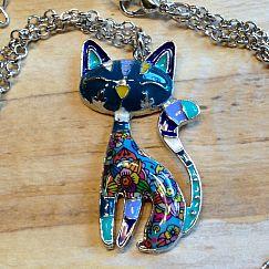 Designer Halskette mit Katze blau buntes Emaille