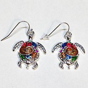 1 Set Ohrringe mit Anhänger Schildkröte silber Emaille