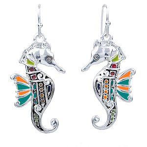 1 Set Ohrringe mit Anhänger Seepferd silber Emaille