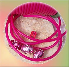1 m pink rubber cord Syntetic Schnur 3 mm hole 1,5 mm