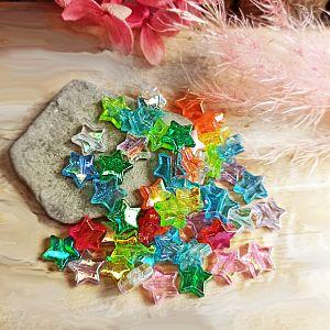 30 schöne irisierende Perlen Sterne Mix 11 mm transparent