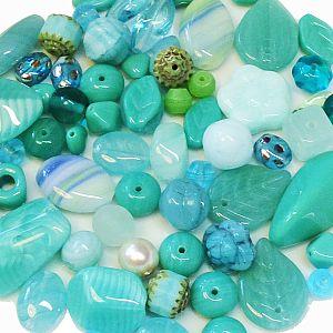 50 g böhmische Glasperlen als Mix in türkis grün