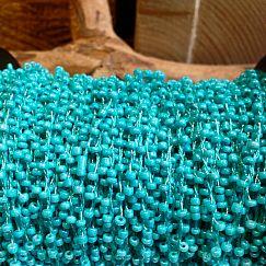 1 Meter Perlenfaden mit Rocaillesperlen türkis 2 mm
