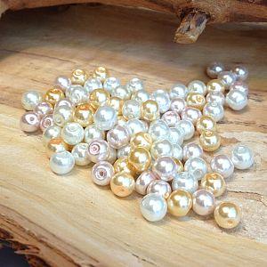 Perlenset 50 Glaswachsperlen Kinderperlen weiß beige 6 mm