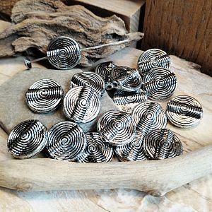 10 Acrylperlen Spacer Rund Ringel silber antik 16,5 mm