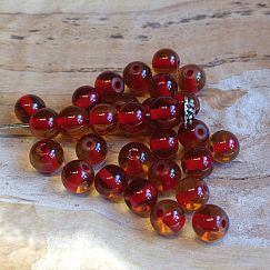 50 Glasperlen Kugelform 6 mm mit roter Innenperle (copy)